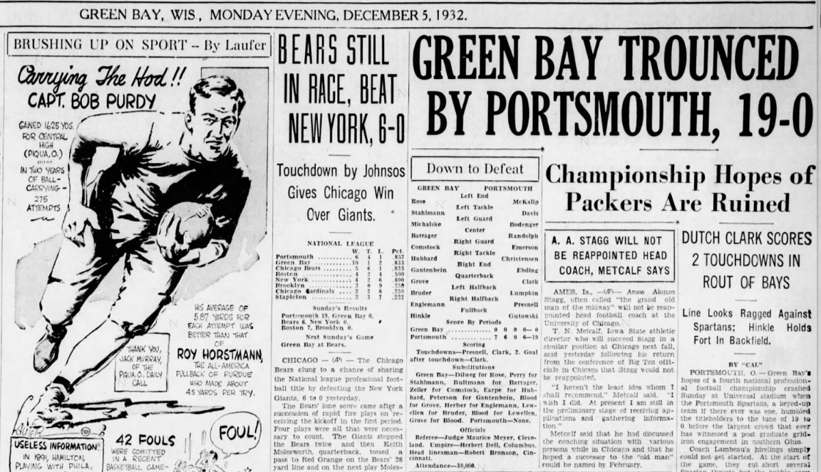 """Green Bay Trounced by Portsmouth, 19-0"""