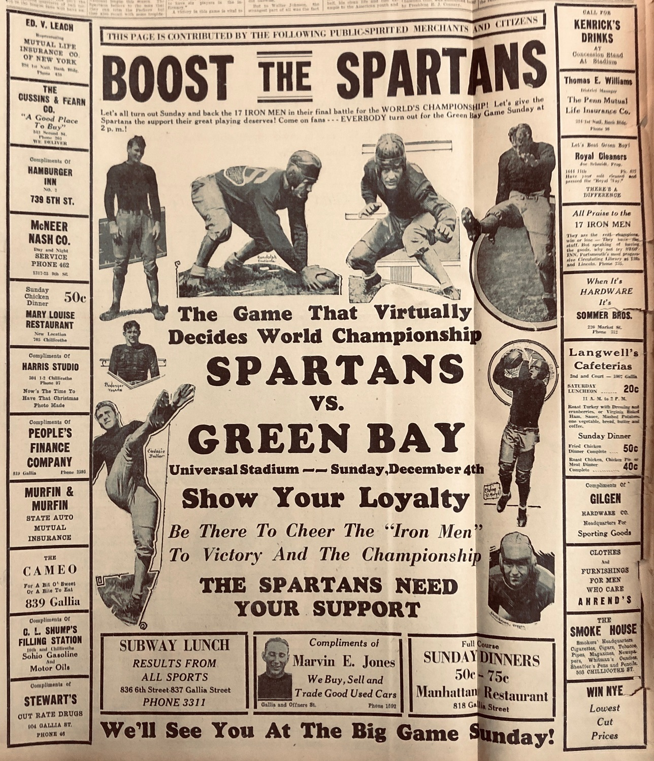 Flyer advertising the Iron Man Game of 1932