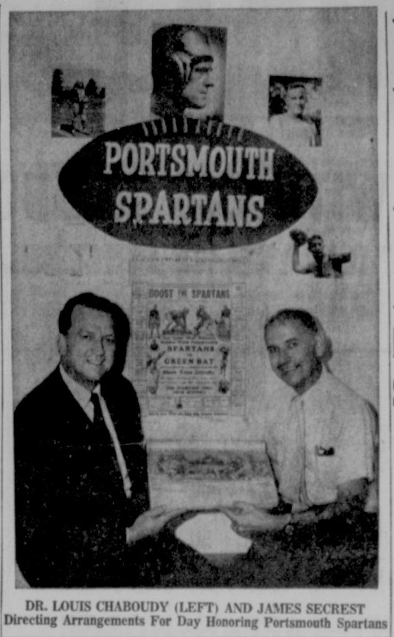 Dr. Louis Chaboudy & James Secrest Celebrate Portsmouth Spartans History (15 June 1970).