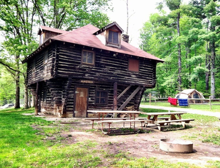 Blockhouse Cabin, built with federal funds and locally donated materials in 1934, Camp Oyo, Scioto County, Ohio (3 May 2012).