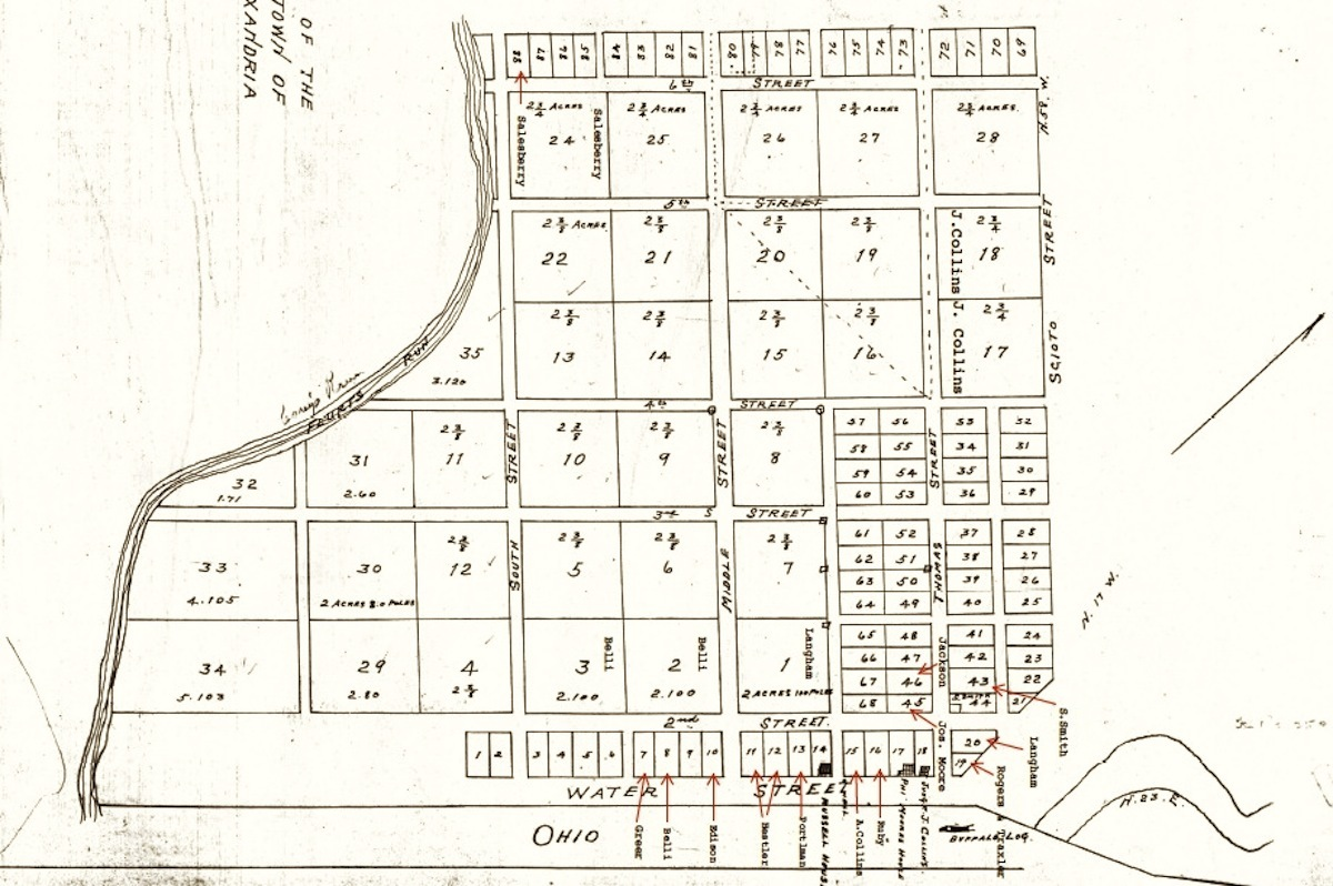 Plat of Alexandria, Ohio, the first American settlement at the confluence of the Scioto and Ohio Rivers.