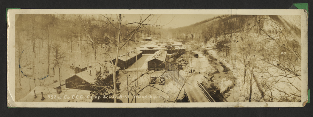 Bird's-eye View of CCC Camp Scioto on Pond Run, Shawnee State Forest, Scioto County, Ohio (c. 1935).