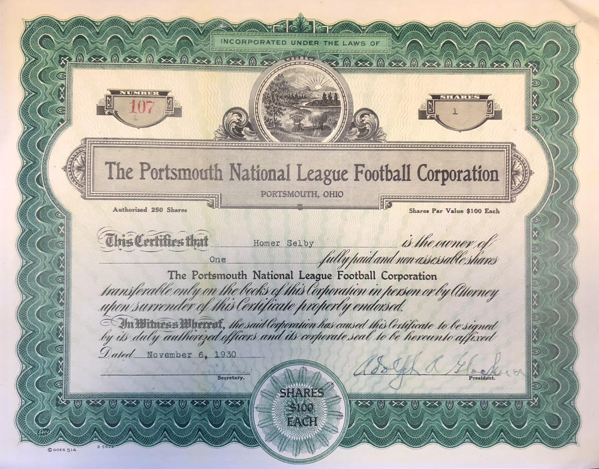 Portsmouth National League Football Corporation Stock Certificate