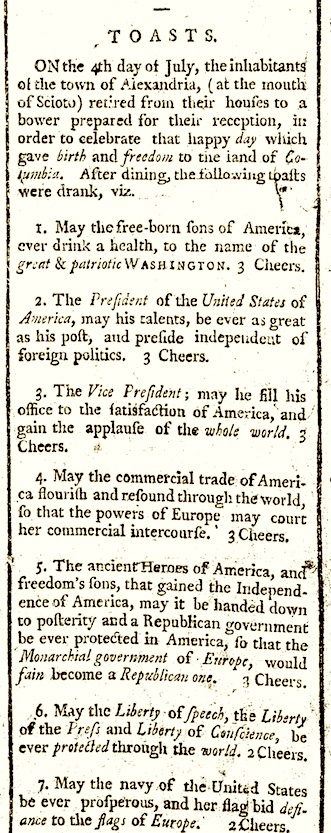 """""""Toasts,"""" Freedman's Journal & Chillicothe Advertiser (11 July 1800)."""