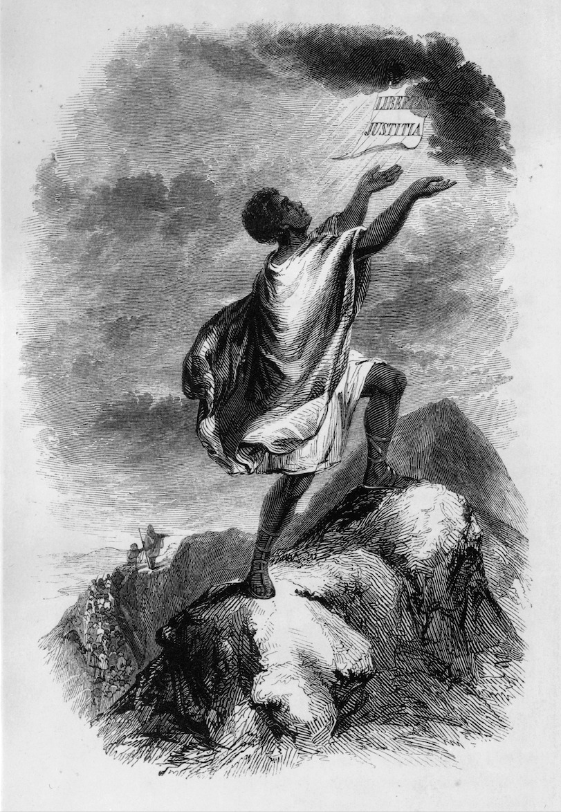 """""""Libertas Justitia,"""" Frontispiece to David Walker's Appeal, printed by J.H. Tobitt of New York City (1848)"""