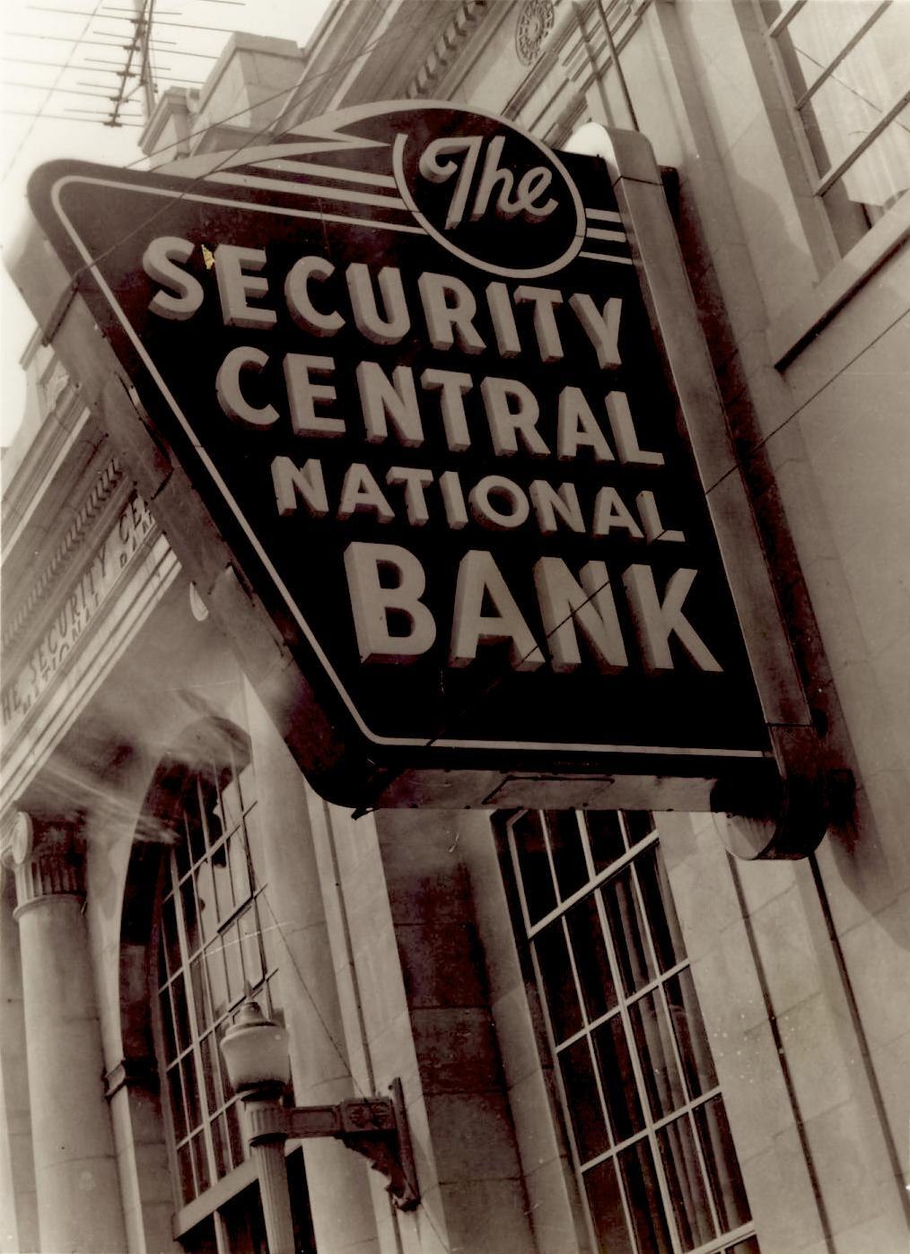 The Security Central National Bank sign and front entrance, Gallia Street, Portsmouth, Ohio, c. 1960.