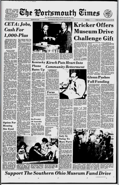 Edmund Kricker's Challenge Gift reported in the Portsmouth Daily Times (15 May 1978).