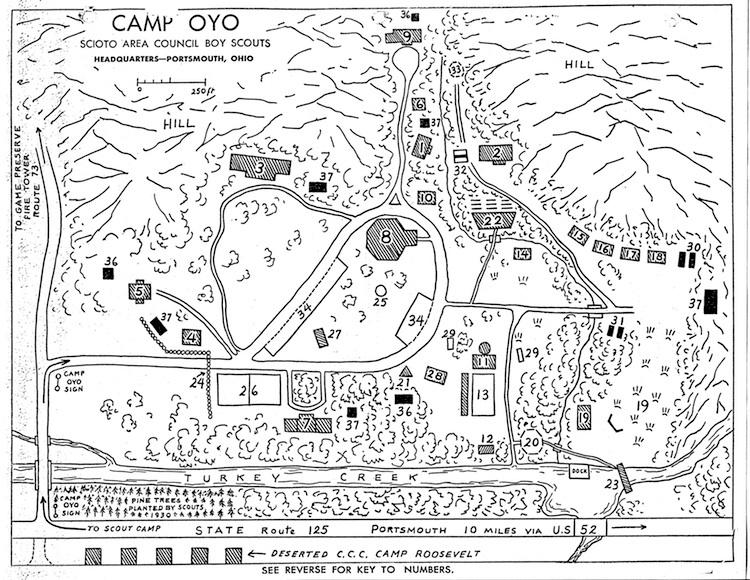 Camp Oyo Map, c. 1937
