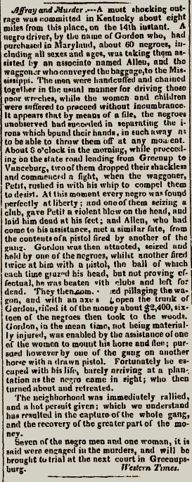 """""""Affray and Murder"""":  The Greenup Slave Revolt as Reported by Julius Bingham in the Portsmouth Western Times (22 August 1829), reprinted in the Scioto Gazette (26 August 1829)."""